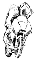 a hand drawn sketch of sport motorcyclist