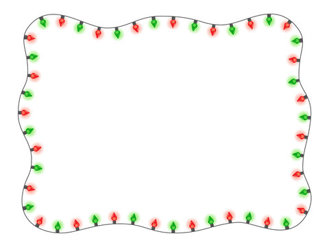 Christmas holiday red and green lights in a frame shape flat vector