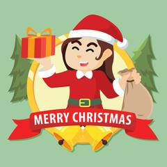 santa girl in circle merry christmas