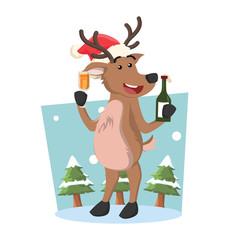 deer holding beer illustration design