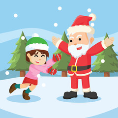 girl meet santa illustration design