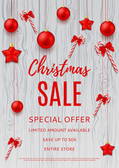 Christmas discount banner template. Seasonal sale flyer for business design. Xmas gift card with res balls, stars and candy canes. Vector illustration.