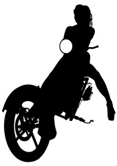 Fototapete - Silhouettes of motorcycl and baeuty women on white background