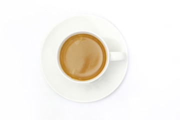 The espresso coffee in white background
