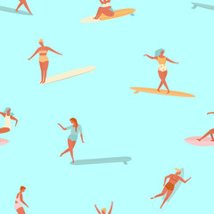 Girl surfer in bikini seamless pattern in vector. Flat style illustration. Summer beach surfing .