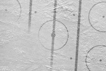 Ice the hockey field with markings