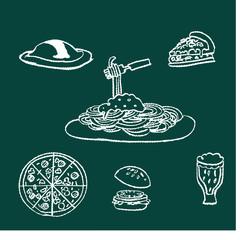 チョークとクレヨンの素材 洋食 黒板