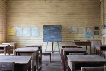 Antique wooden classroom