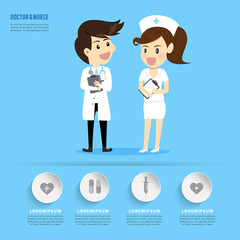 Doctor and  Nurse cartoons occupation.healthcare concept.can used for banner,infographic,data,presentation business,chart,brochure,leaflet sign and symbol.