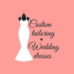Custom tailoring wedding dresses logo design with mannequin vector illustration