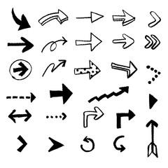 チョークとクレヨンの素材 いろいろな矢印