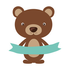 Little animal concept about cute bear with blue ribbon design, vector illustration
