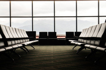 Empty airport lounge
