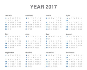 Year 2017 Calendar vector design template