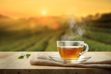 Cup of hot tea and tea leaf on the wooden table and the tea plantations background