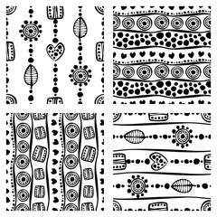 Set of seamless vector pattern. Black and white hand drawn endless background with ornamental decorative elements with ethnic, traditional motives. Series of Hand Drawn Ornamental Seamless Patterns