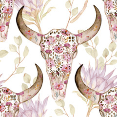 Watercolor seamless pattern with skull in flowers, protea. Floral decoration, vector illustration