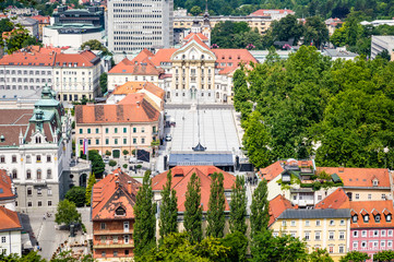 Ursuline Church of the Holy Trinity and Congress Square aerial view in Ljubljana, Slovenia