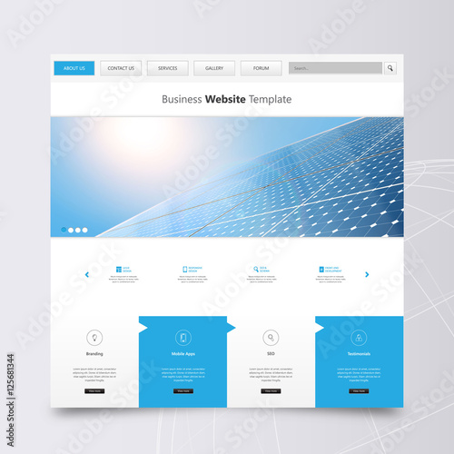 modern eco simple website design template with solar panel photorealistic eco vector header. Black Bedroom Furniture Sets. Home Design Ideas