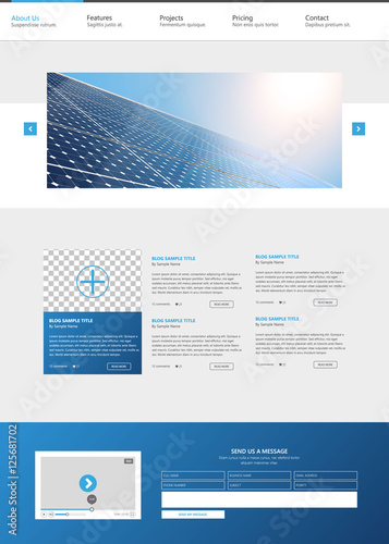 modern eco one page website design template with solar panel photorealistic eco vector header. Black Bedroom Furniture Sets. Home Design Ideas