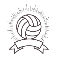 volleyball ball sport equipment icon with ribbon and sunburst over white background. vector illustration