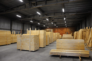 Lumber warehouse. Wood processing plant