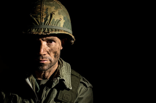 Dramatic Portrait Of American Soldier From The Vietnam War