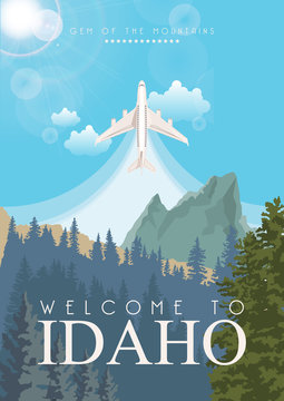 Idaho vector travel poster. United States of America card. USA banner