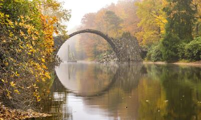 autumn, foggy morning in the park Kromlau