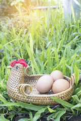 three egg on basket