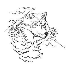 Wolf and Nature vector illustration page