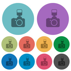 Camera with flash color flat icons