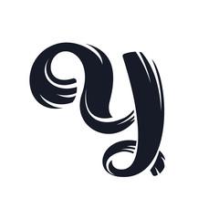 Y letter logo script lettering. Vector elegant hand drawn letter