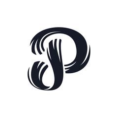 P letter logo script lettering. Vector elegant hand drawn letter