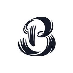 B letter logo script lettering. Vector elegant hand drawn letter