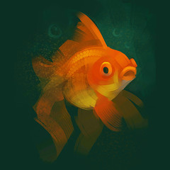 Gold Fish under water. Raster illustration on a green background.