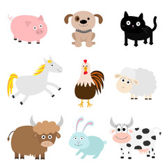 Farm animal set. Cock, pig, dog, cat, cow, rabbit, ship horse, rooster, bull Baby collection. Flat design style. Isolated. White background