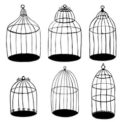 vector bird's cages