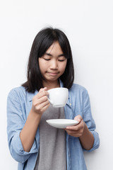 asian cute girl drinking coffee