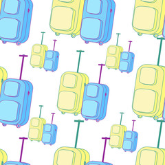 suitcase, baggage yellow and blue seamless pattern.