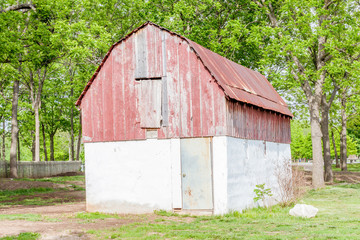 Rust and grunge barn in agriculture farm.