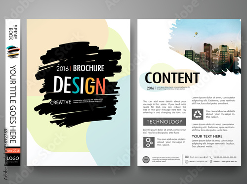 Book Cover Template Paint ~ Quot brochure design template vector layout flyers report