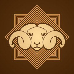 Sheep head with big horn designed on golden line square background graphic vector.