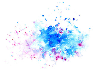 Pink and blue watery spreading illustration.Abstract watercolor hand drawn image.Purple and cyan splash.White background.