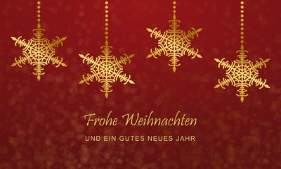 Weihnachten - Grußkarte mit Schneesternen (in Rot)