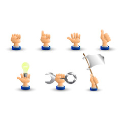 Arm. Business hand. A set of seven hand gestures. 3D icon. Flat.
