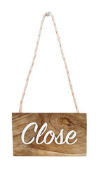 Close hanging sign, isolated, with clipping path