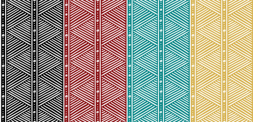 Tribal Seamless Ethnic African Pattern with Lines.