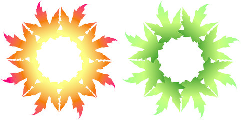 Leaves circular background frame or border, autumn gold or spring green