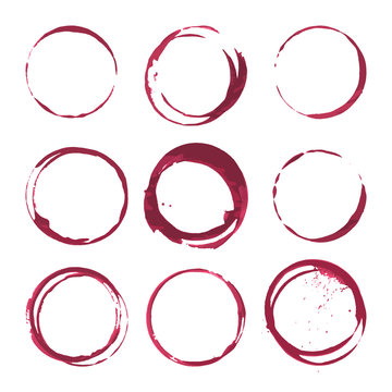 Red wine stains. Traces wine splashes set. Vector.
